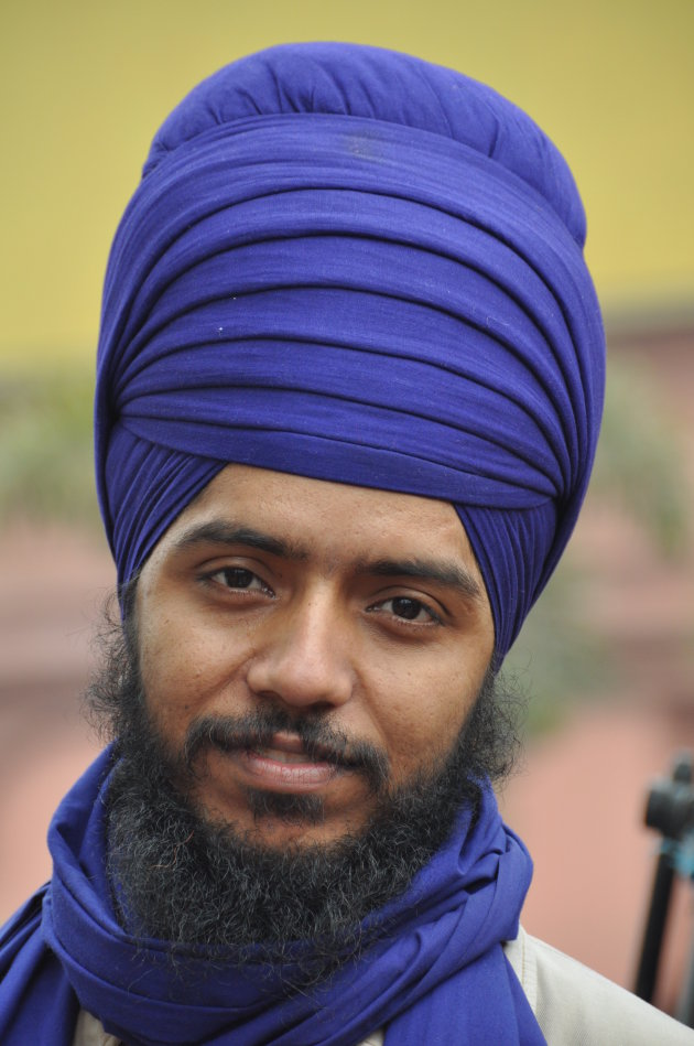 Een Sikh in blauw