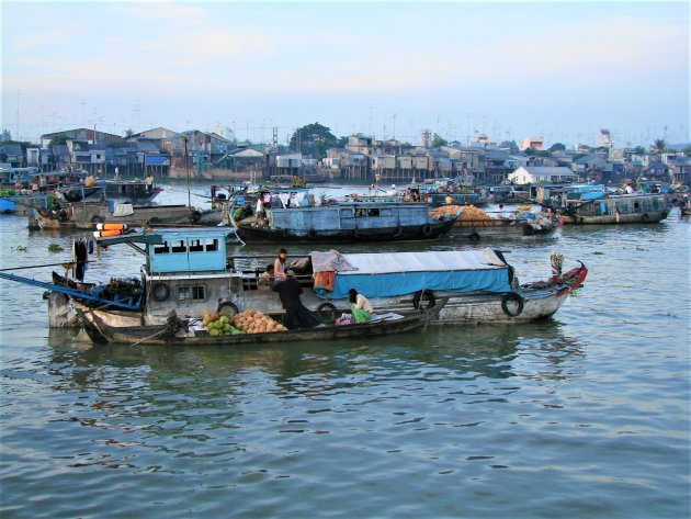 Markt in de Mekong delta.