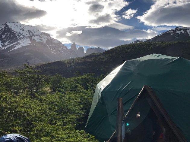 Wandelen vanuit het Ecocamp in Patagonië