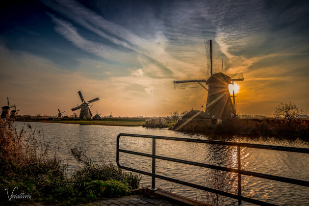 The Sunset and Windmills
