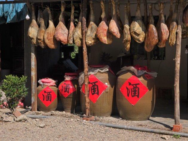 Rijstwijn met ham