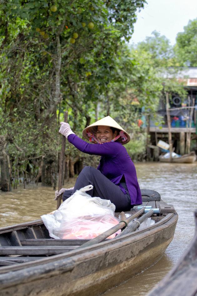 Smiling woman at Mekong Delta
