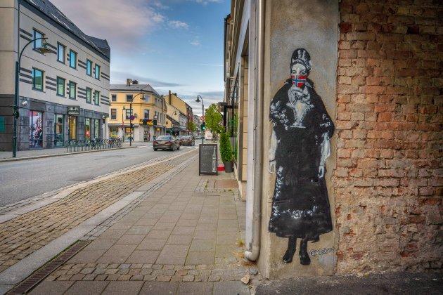 Street-art met mondmasker