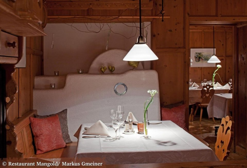 Het interieur van restaurant Mangold is in ieder vertrek weer anders. © Restaurant Mangold/ Markus Gmeiner