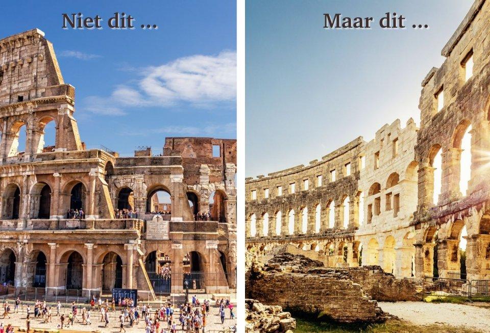 Colosseum, Rome (Italië) versus Amfitheater, Pula (Kroatië)