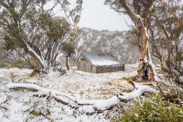 Wallace's hut in de sneeuw