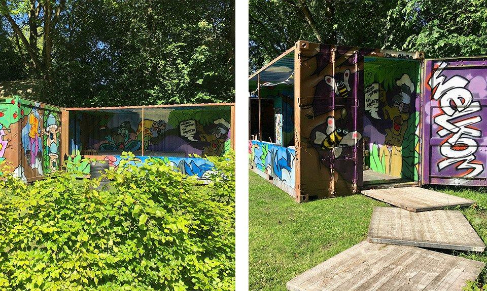 Slapen in een graffiti-zeecontainer CREDIT Jennifer Joedo