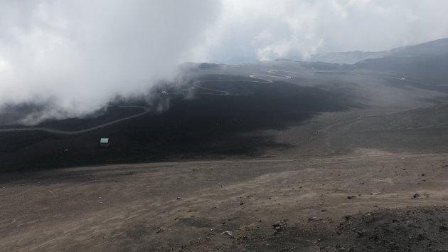 Slingerend de Etna op