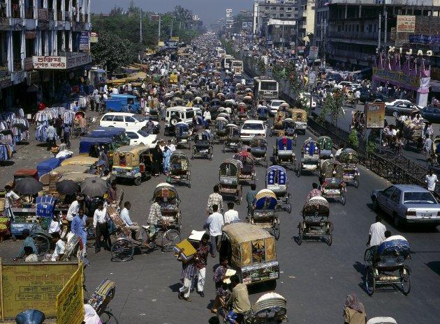 Verkeer in Dhaka, Bangladesh