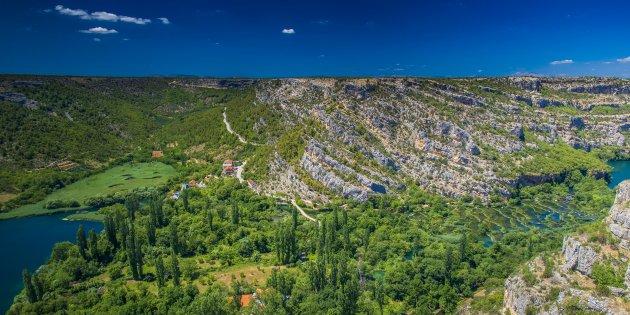 Uitzicht op het Krka nationaal park