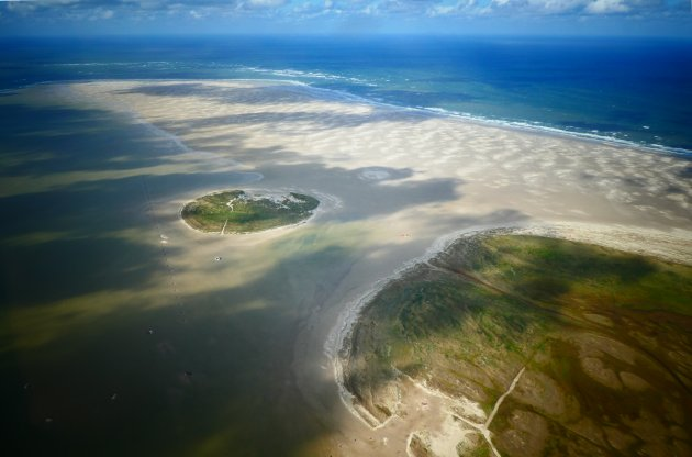 Zandbank met eilandjes