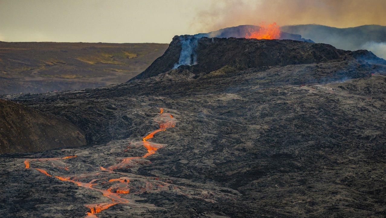 Actieve Fagradalsfjall vulkaan