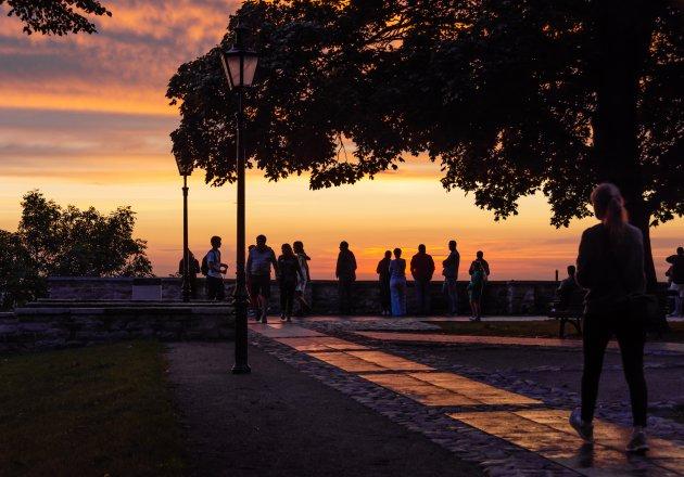 Ondergaande zon in Tallinn