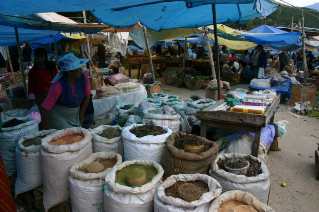 Weekend markt in Thimphu