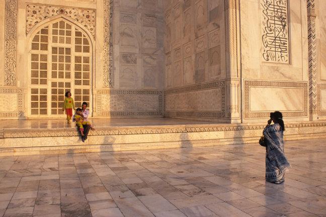 Familieportet bij de Taj Mahal