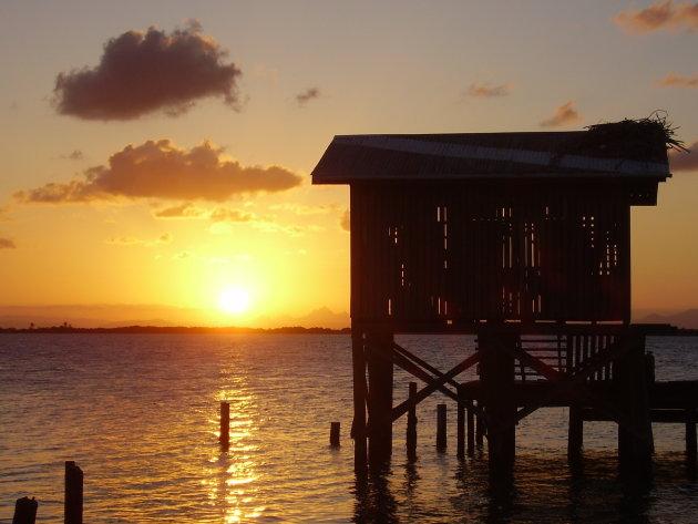 Sunset at Tobago Caye