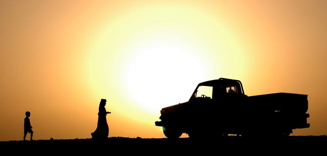 Omaanse man en zijn zoon