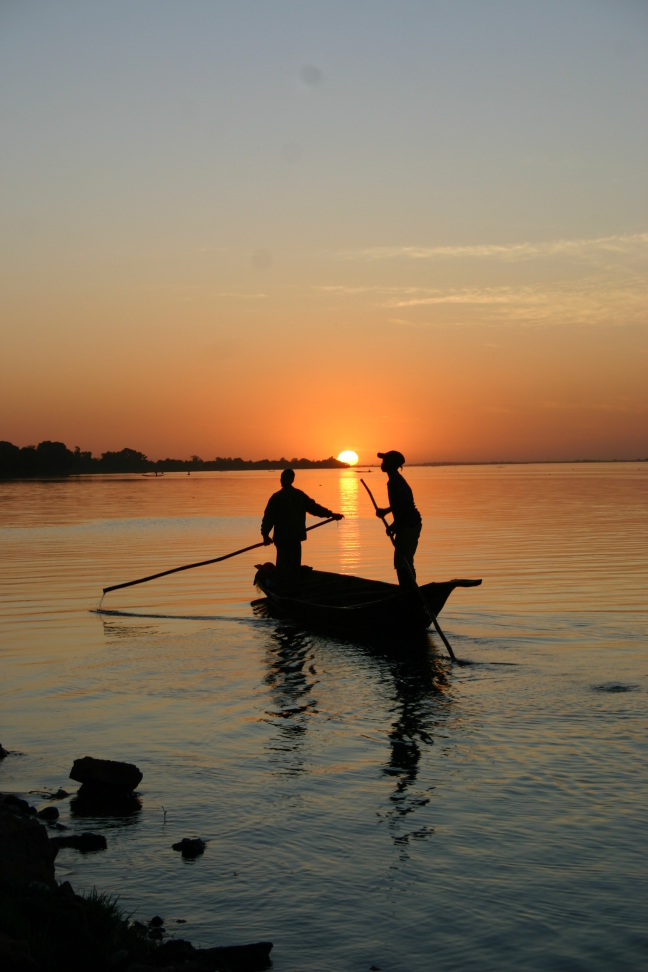 zonsondergang bij Segou aan de NIger