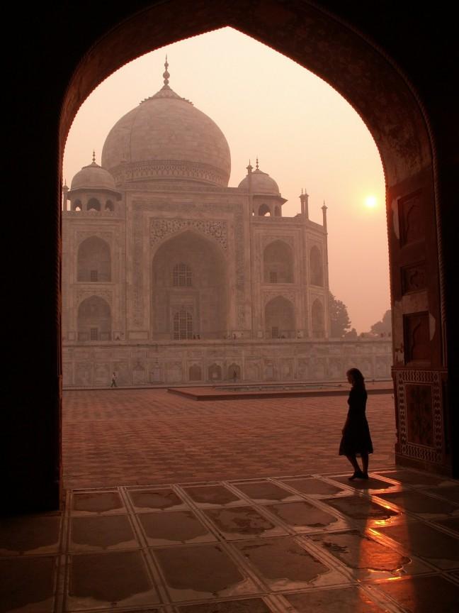 Taj Mahal bij zonsopgang