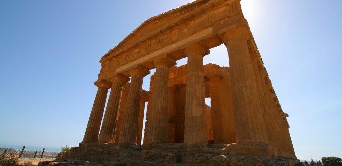Overblijfselen Griekse tempel in Agrigento, Sicilië