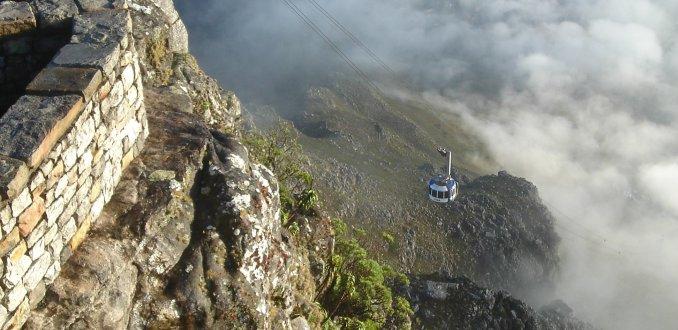 De kabelbaan voor de Tafelberg