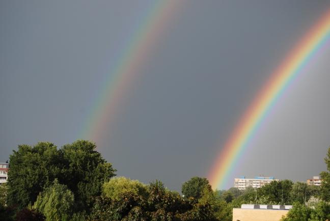 Dubbele regenboog.