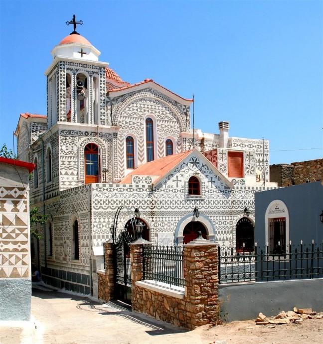 Het witte kerkje van Pyrgi