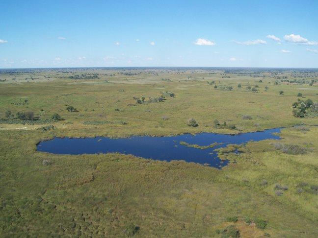 Uitzicht vanuit het vliegtuig boven de Delta