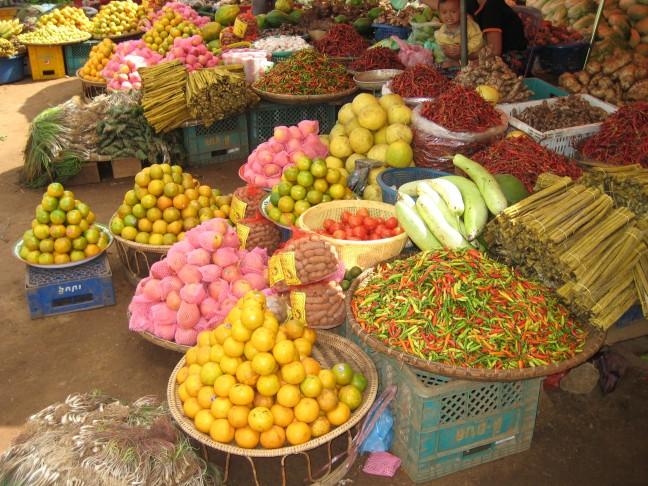 markt in het zuiden van Laos