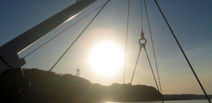 Zonsondergang op de Mississippi