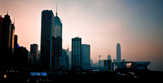 Avondlicht over Hongkong