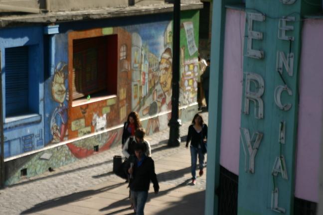 Straatbeeld in Santiago