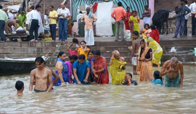 Baden in de Ganges.