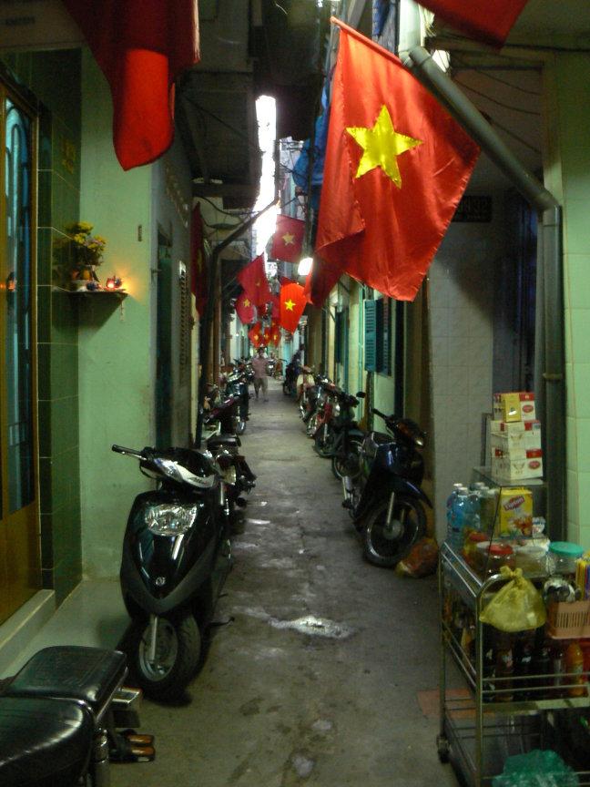 Steeg in Ho Chin Min City tijdens onafhankelijks dag