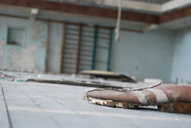 Achtergebleven sportschoentje in Prypjat