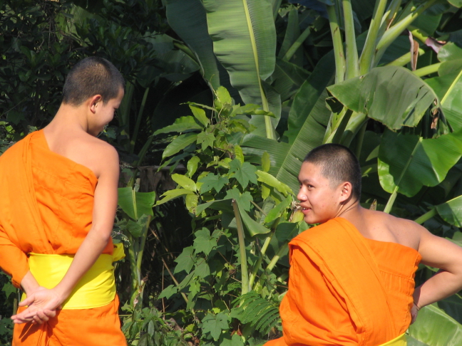 Two young monks having a laugh