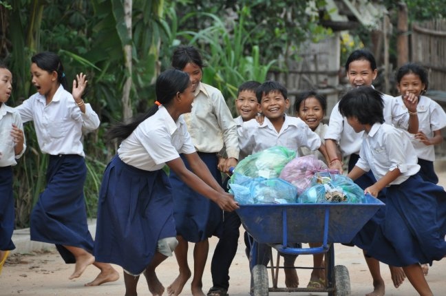 Doing chores can be fun, in Cambodia