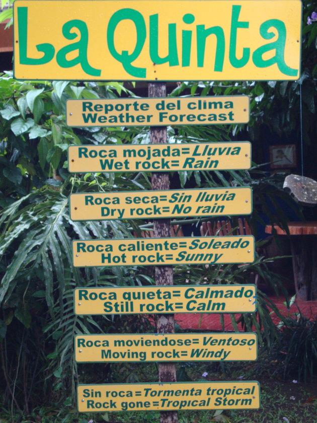 Weersvoorspelling op z'n Costaricaans