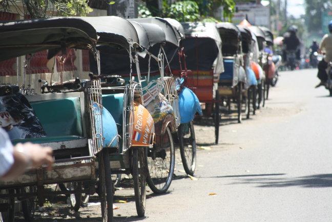 fietstaxi's in Jokjakarta