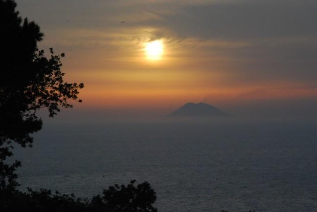 sunset over the stromboli