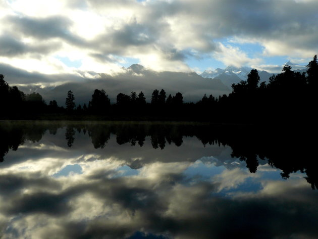 Mount Cook, seen in Lake Matheson in New Zealand
