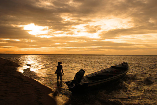 Zonsondergang in Frans Guyana