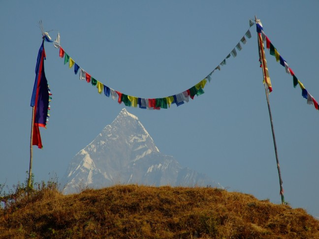 Gebedsvlaggetjes en de Annapurna