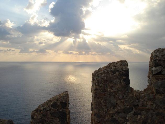 Zonsondergang vanaf de burcht van Alanya