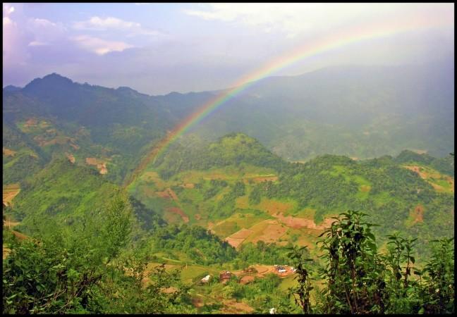 Herfstkleuren in de bergen van Noord Vietnam