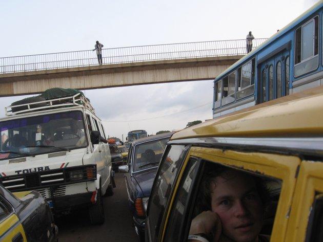Verkeersdrukte in Dakar