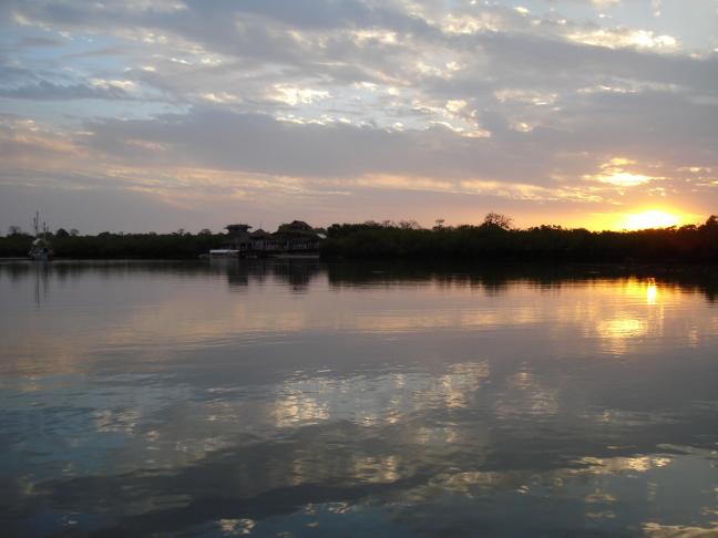 zonsondergang Gambia river