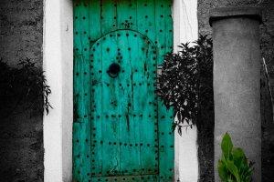 Gekleurde deur in Zwart Wit