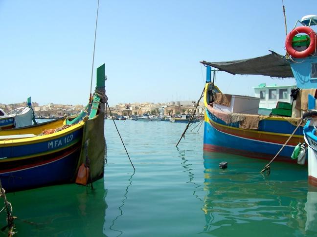 De haven van Marsaxlokk in Malta