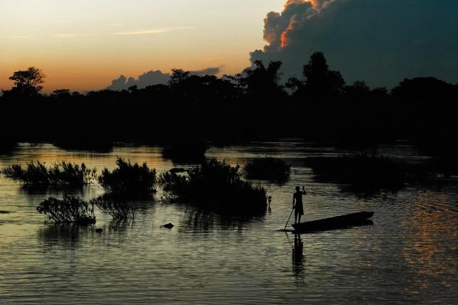 Bootje op de Mekong bij Don Det